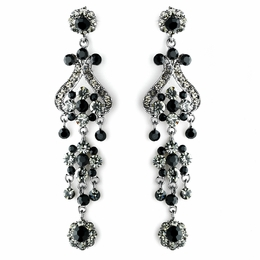"""Fancy That"" Vintage-style Chandelier Earrings (Black on Antique Silver)"