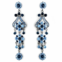 """Fancy That"" Vintage-style Chandelier Earrings (Blue on Antique Silver)"
