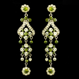 """Fancy That"" Vintage-style Chandelier Earrings (Green on Gold)"