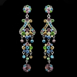 """Fancy That"" Vintage-style Chandelier Earrings (Multi-colored on Silver)"