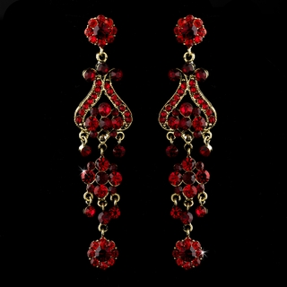 """Fancy That"" Vintage-style Chandelier Earrings (Red on Gold)"
