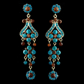 """Fancy That"" Vintage-style Chandelier Earrings (Turquoise & Brown on Gold)"