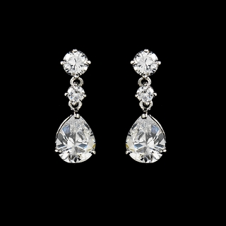 """Firefly"" Cubic Zirconia (CZ) Earrings (Clear on Silver)"