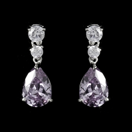 """Firefly"" Cubic Zirconia (CZ) Earrings (Light Amethyst on Silver)"