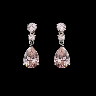 """Firefly"" Cubic Zirconia (CZ) Earrings (Pink on Silver)"