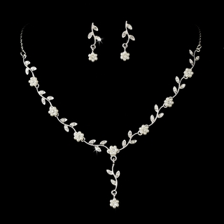 """Flora"" Pearl and Rhinestone Necklace and Earrings Set"