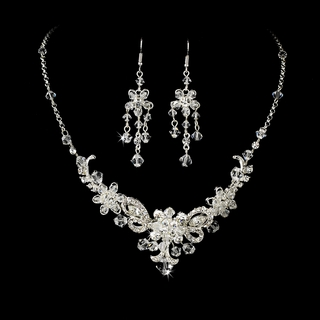 """Forever"" Swarovski Crystal Necklace and Earrings Set (Silver)"