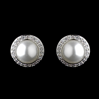 """Forever Yours"" Solid 925 Sterling Silver Cubic Zirconia (CZ) and Pearl Earrings"