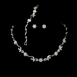 """Garden Party"" Necklace, Earrings, and Bracelet Set (Clear on Silver)"