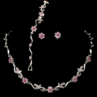 """Garden Party"" Necklace, Earrings, and Bracelet Set (Pink on Silver)"