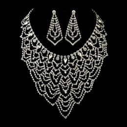 """Glamour Girl"" Rhinestone Necklace and Earrings Set"