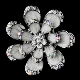 """Glistening Magnolia"" Antique Silver Rhinestone Brooch (White/Grey)"