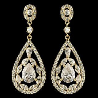 """Glitter"" Teardrop CZ Crystal Chandelier Earrings (Clear on Gold)"