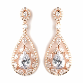 """Glitter"" Teardrop CZ Crystal Chandelier Earrings (Clear on Rose Gold)"
