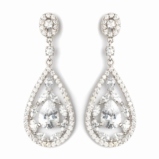 """Glitter"" Teardrop CZ Crystal Chandelier Earrings (Clear on Silver)"