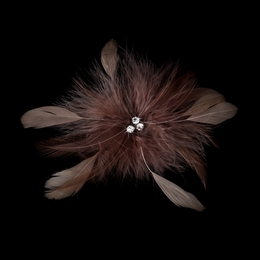 """Happiness"" Feather Hair Fascinator Clip (Cafe Brown)"