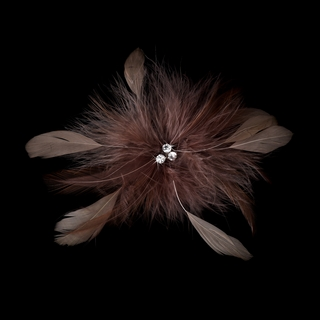 """""""Happiness"""" Feather Hair Fascinator Clip (Cafe Brown)"""