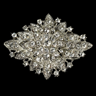 """Honor"" Vintage-style Rhinestone Brooch (Clear on Silver)"