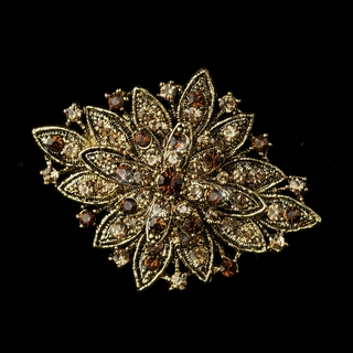 """Honor"" Vintage-style Rhinestone Brooch (Topaz on Gold)"