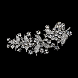 """I Heard It Through The Grapevine"" Antique Silver Rhinestone Brooch"