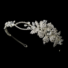 """Isn't It Romantic?"" Side Accented Crystal and Rhinestone Floral Headband"