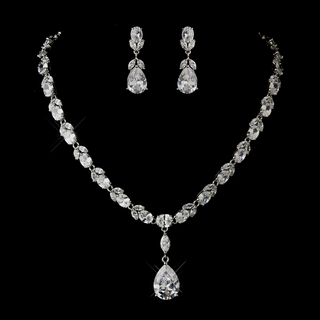 """It's Your Day"" Antique Silver Cubic Zirconia (CZ) Necklace and Earrings Set"