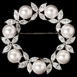 """Joyfulness"" Antique Silver Cubic Zirconia (CZ) and Pearl Wreath Brooch"