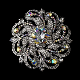 """Las Vegas"" Antique Silver Rhinestone Flower Brooch (AB-Reflective)"