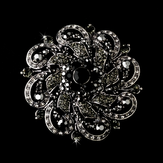 """Las Vegas"" Antique Silver Rhinestone Flower Brooch (Black)"