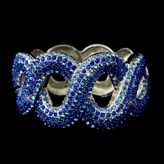 """Lasso""  Iridescent Rhinestone Bangle Bracelet (Blue on Silver)"