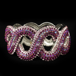 """Lasso""  Iridescent Rhinestone Bangle Bracelet (Fuchsia on Silver)"