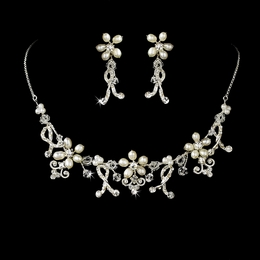 """Legacy"" Swarovski Crystal and Freshwater Pearl Necklace and Earrings Set"