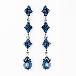 """Let's Fall in Love"" Crystal Drop Earrings (Dark Blue/Navy)"