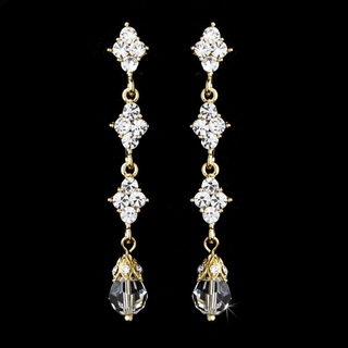 """Let's Fall in Love"" Crystal Drop Earrings (Gold)"