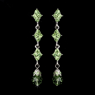 """Let's Fall in Love"" Crystal Drop Earrings (Green)"