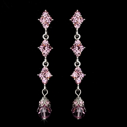 """Let's Fall in Love"" Crystal Drop Earrings (Pink)"
