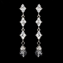 """Let's Fall in Love"" Crystal Drop Earrings (Silver)"