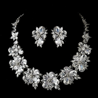 """Lexington"" Tear Drop & Marquise CZ Crystal Necklace and Earrings Set"