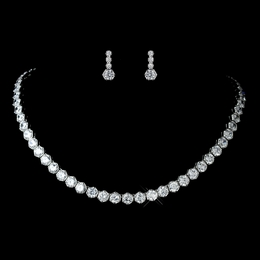 """Light the Way"" Antique Rhodium CZ Solitaire Necklace and Earrings Set"