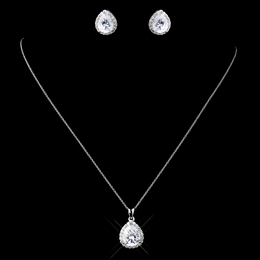 """Love at First Sight"" Solid 925 Sterling Silver Cubic Zirconia (CZ) Necklace and Earrings Set"