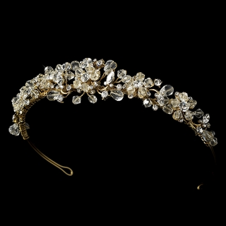 """Love is in the Air"" Swarovski Crystal Tiara (Clear Crystals on Gold)"