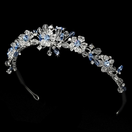 """Love is in the Air"" Swarovski Crystal Tiara (Light Blue on Silver)"