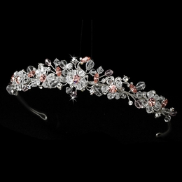 """Love is in the Air"" Swarovski Crystal Tiara (Pink on Silver)"