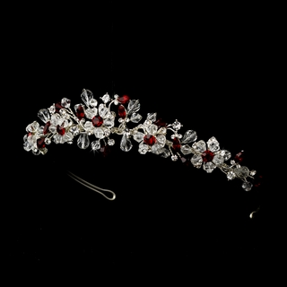 """Love is in the Air"" Swarovski Crystal Tiara (Red on Silver)"