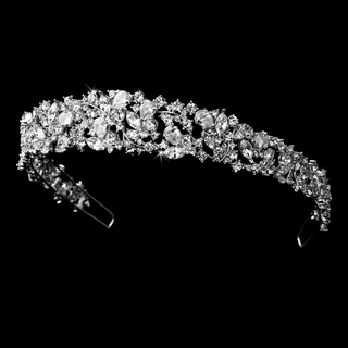 """Lovely Dream"" Silver Cubic Zirconia Crystal Tiara"