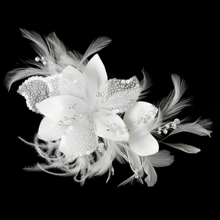 """""""Lovely Lily"""" Feather Hair Fascinator (White)"""