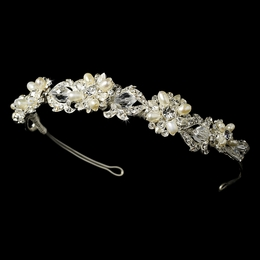 """Melody"" Swarovski Crystal and Freshwater Pearl Headband (Silver)"