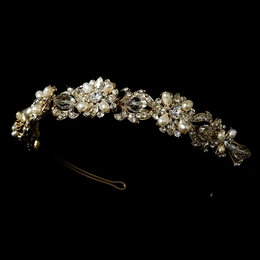 """Melody"" Swarovski Crystal and Freshwater Pearl Headband (Gold)"