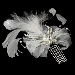 """Merriment"" Vintage-style Feather Hair Fascinator (White)"