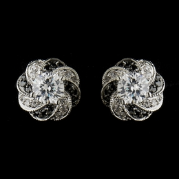 """Midnight Magic"" Clear and Black Cubic Zirconia (CZ) Earrings"
